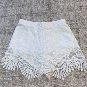 Embroidered white shorts